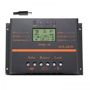 Anancooler 60A 80A Régulateur de Charge Solaire Régulateur de Charge de Batterie 12V / 24V avec 5V USB Chargeur Mobile Sortie Affichage LCD (80A) de la marque anancooler image 0 produit