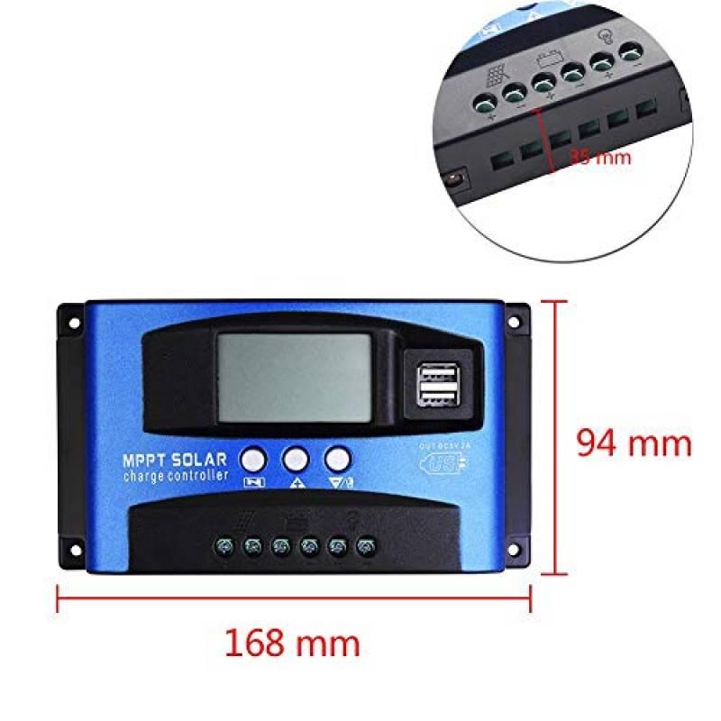 Sharplace R/égulateur de Panneau Solaire 60A Courant de Charge PWM Pannel Accessoires
