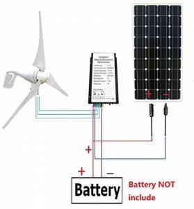 ECO-WORTHY 12 volts 500 watts Kit solaire de vent: éolienne de 12V / 24V 400W + panneau solaire monocristallin de 12V 100W + câble de 24cm pour la maison de la marque ECO-WORTHY image 0 produit