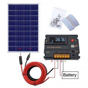 ECO-WORTHY Kit de panneau solaire 120W 12V: panneau solaire de 120 W, contrôleur de charge solaire 20A et câble solaire de 5 m et supports de montage de style Z pour camping-car caravane de la marque ECO-WORTHY image 0 produit