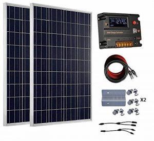 Eco-Worthy Kit de panneaux solaires hors réseau 200 Watt 12 V/24 V – 2 panneaux solaires 100 W polycristallin + contrôleur intelligent régulateur solaire 20 A pour Système de chargement 12 V ou 24 V de la marque ECO-WORTHY image 0 produit