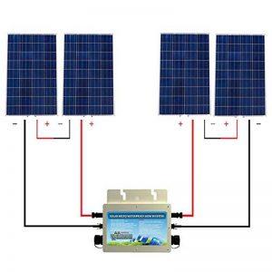 ECO-WORTHY Kit panneau solaire 480 18V IP65 avec attache réseau: panneau solaire 4PC 120W + inverseur étanche 600W 24V-220V pour la maison de la marque ECO-WORTHY image 0 produit