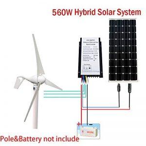 ECOWORTHY 12Volts 500Watts Off Grille Wind Système Solaire: 12V/24V 400W Wind Turbine + 18V 100W Panneau Solaire monocristallin + 24cm de câble d'alimentation pour la Maison de la marque ECOWORTHY image 0 produit