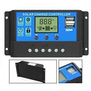 GIARIDE 20A 24V 12V LCD USB Contrôleur Charge Solaire PWM Régulateur de Batterie de Panneau Solaire Intelligent Auto Protection Contre Surcharge Compensation de Température de la marque GIARIDE image 0 produit