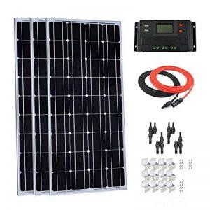 Giosolar 300W 12V Panneau solaire monocristallin kit avec écran LCD 30A contrôleur de charge + câble Rouge/noir + MC4Y Branche connecteur + supports de montage Z pour RV Bateau Photonic Universe de la marque Giosolar image 0 produit