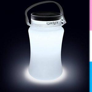 igadgitz Xtra Lumin Solar Glow 100lm Lanterne LED USB Batterie & Energie Solaire Rechargeable Lampe de Camping Bouteille de Rangement Étance avec 2 ans Garantie de la marque igadgitz Xtra image 0 produit