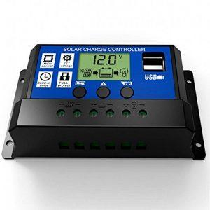 JZK 20A 12V / 24V Contrôleur de Charge de Panneau Solaire Intelligent avec écran LCD et Port USB, Protection Contre Les surintensités, pour Lampe de Batterie de Panneau Solaire Éclairage LED de la marque JZK image 0 produit