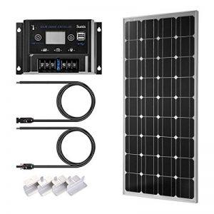 Kit de panneau solaire monocristallin 100W 12V + PWM contrôleur de charge intelligent avec fusible de batterie 10A 12/24V + Supports de montage + MC4 câbles pour maison voiture bateau caravane de la marque ElevenII image 0 produit