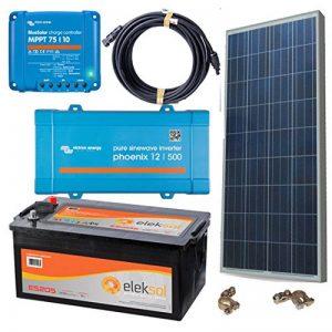 Kit solaire photovoltaïque isolées de la Red 500VA avec plaque de 150W, batterie 205Ah sans entretien, régulateur mPPT victron 75/10, inverseur victron 12V 500VA, VIS, câblage et guide de montage de la marque DSP Solar image 0 produit