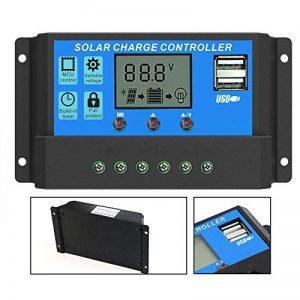 Qaurora Régulateur de charge intelligent de contrôleur de charge solaire avec la double sortie d'USB 5V pour la protection de surcharge de lampe de batterie de panneau solaire (30A) de la marque Qaurora image 0 produit