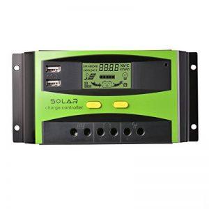 Régulateur de panneau solaire, 30A 12V / 24V, Régulateur de charge solaire intelligent avec fusible de batterie, 2 ports USB, ajustement de température et protection contre la surcharge de la marque XIEHAIGE image 0 produit