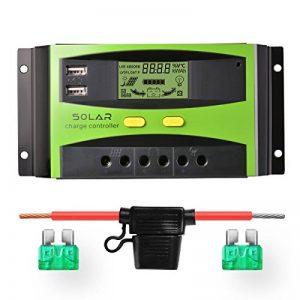 Régulateur de panneau solaire Sunix 20A 12V / 24V, Régulateur de charge solaire intelligent avec fusible de batterie, 2 ports USB, ajustement de température et protection contre la surcharge de la marque Sunix image 0 produit