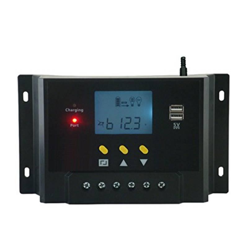 Charge solaire contr/ôleur 30A,12V//24V PWM solaire panneau batterie contr/ôleur automatique r/égulateur Intelligent affichage LCD USB double r/églage de la minuterie ON//OFF heures