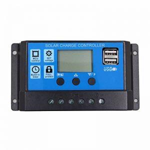 SODIAL 20A 12V 24V Travail automatique PWM Controleur de charge solaire avec LCD Double USB Sortie 5 V Panneau de cellules solaires Regulateur de charge de la marque SODIAL image 0 produit
