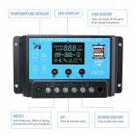 Sunix 20A Contrôleur de Charge Régulateur Panneau Solaire Affichage LED 12-24V, Régulateur Batterie Panneau Solaire Protection Sûre de la marque Sunix image 4 produit