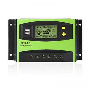 Tellunow 40A PWM Contrôleur Solaire de Batterie du Panneau Solaire 12V/24V de Régulateur de Charge avec l'affichage d'affichage à Cristaux liquides et Le Port USB, Température de la marque Tellunow image 0 produit