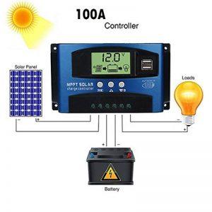 Upxiang Régulateur de charge solaire intelligent avec panneau solaire 40A/50A/60A/100A, MPPT, 12 V/24 V, mise au point automatique, multicolore de la marque Upxiang image 0 produit