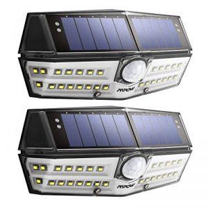 【Version Innovante】2 PACK 30 LED Mpow Lampe Solaire Etanche IPX6 Détecteur de Mouvement Panneau Solaire Amélioré Eclairage Solaire Extérieur pour jardin, Garage, Cour, Maison, Escalier, Patio, Allée de la marque Mpow image 0 produit